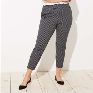 Loft Plus Skinny Button Plaid Pants